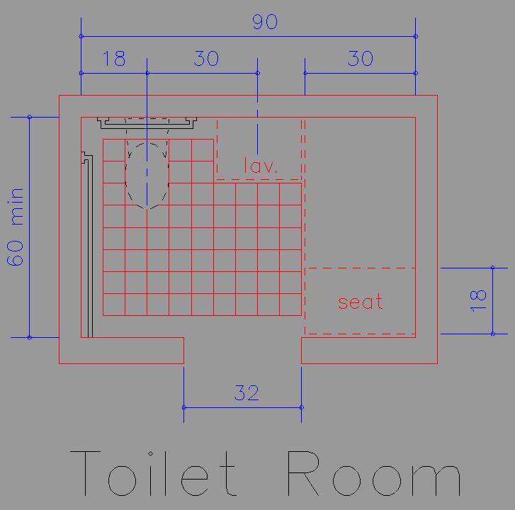 Bloque Baño Adaptado:Bloque Autocad Dimensiones recomendables para cuartos de baño