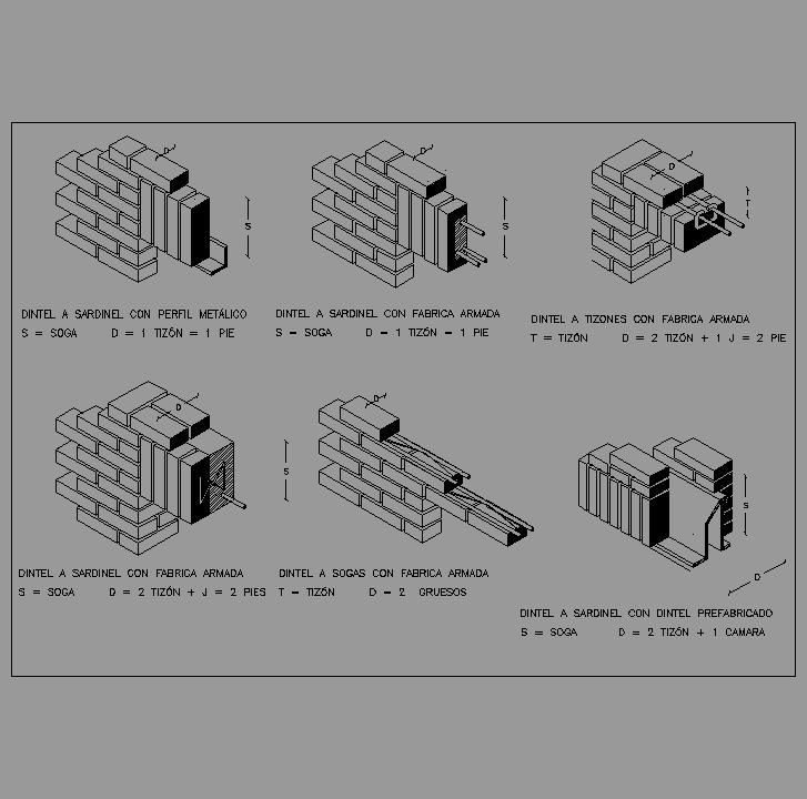 bloque autocad detalles distintos tipos de dinteles