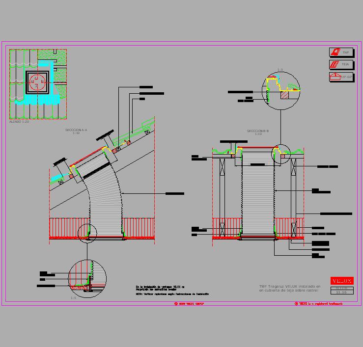 Cad projects biblioteca bloques autocad tubo solar - Tubo solar velux ...