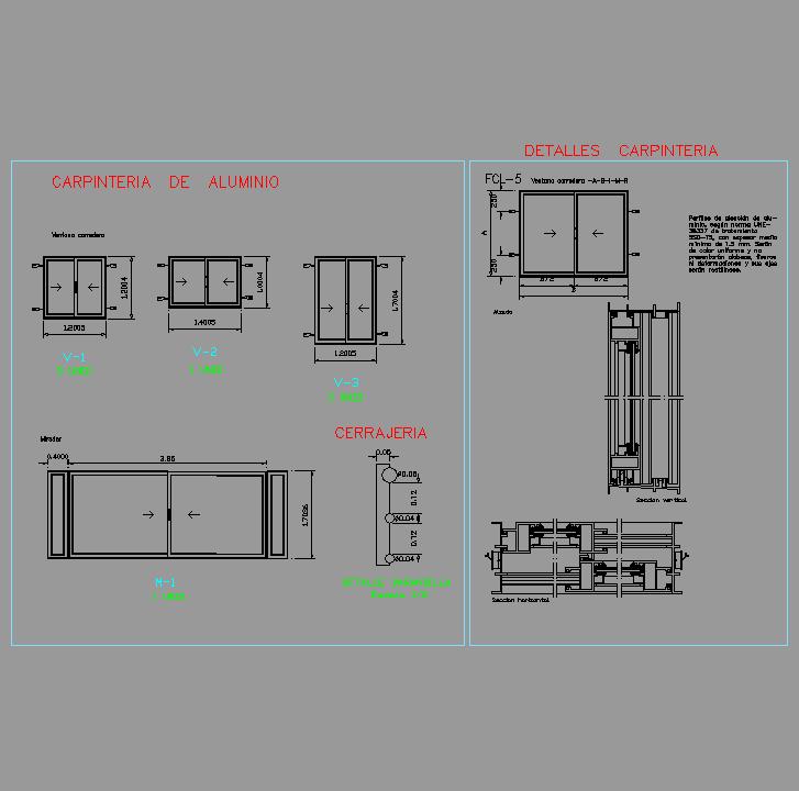 Cad projects biblioteca bloques autocad carpinteria 02 - Detalle carpinteria aluminio ...