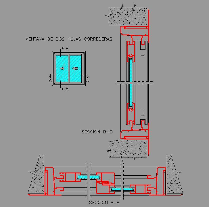 Cad projects biblioteca bloques autocad arquitectura y - Detalle carpinteria aluminio ...