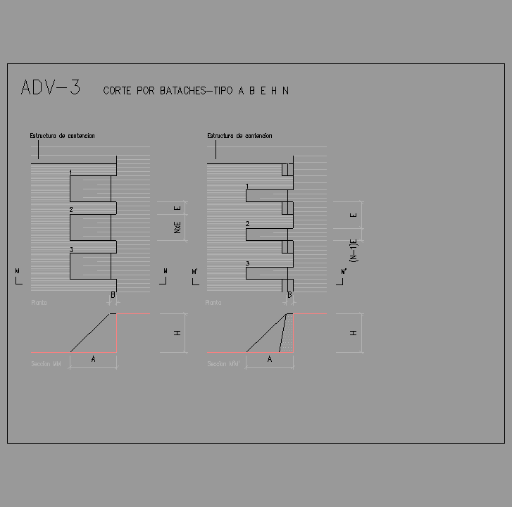 Bloque Autocad Corte por bataches