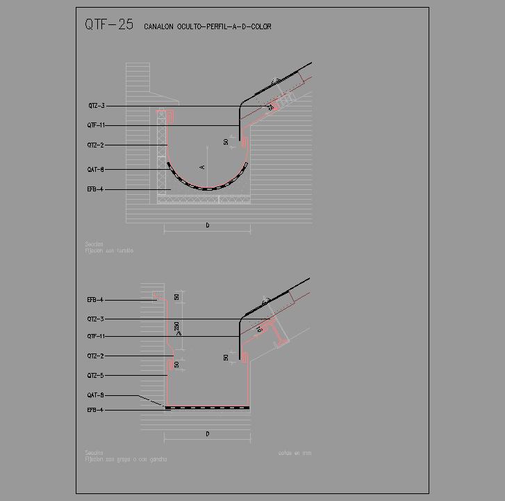 Cad projects biblioteca bloques autocad qtf 25 - Como colocar un canalon ...