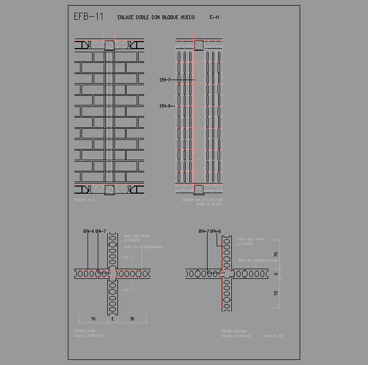 Bloque Autocad  Enlace doble con bloque hueco