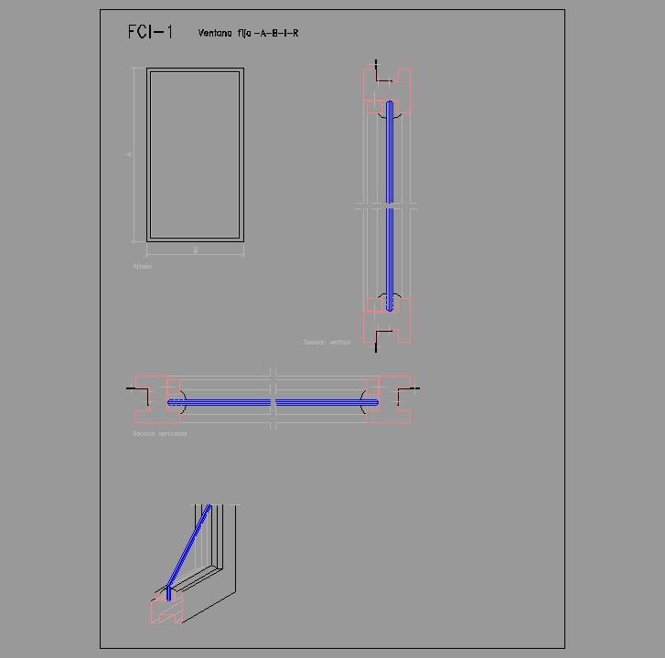Cad projects biblioteca bloques autocad fci 01 - Detalle carpinteria aluminio ...