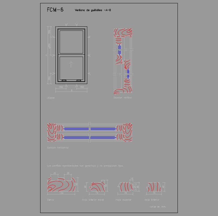 Cad projects biblioteca bloques autocad fcm 06 - Detalle carpinteria aluminio ...