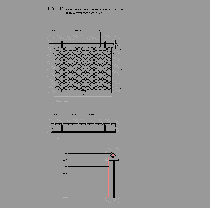 Bloque Autocad  Cierre enrollable manual