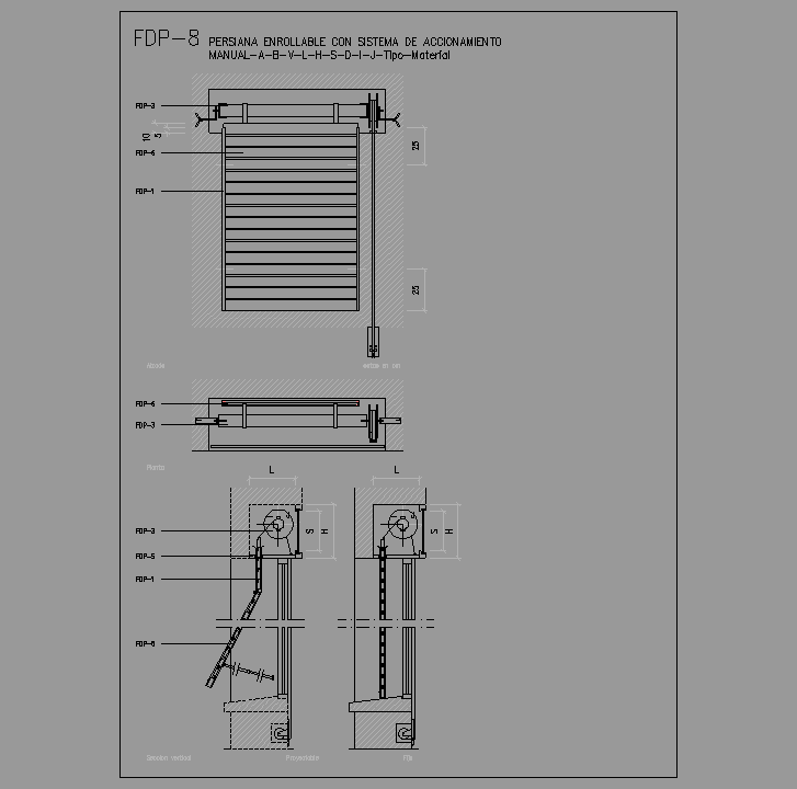 Bloque Autocad Persianas enrollable con sistema accionamiento manual