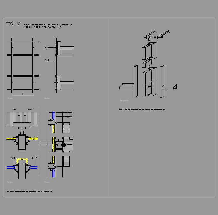 Cad projects biblioteca bloques autocad fpc 10 muro for Detalles cad