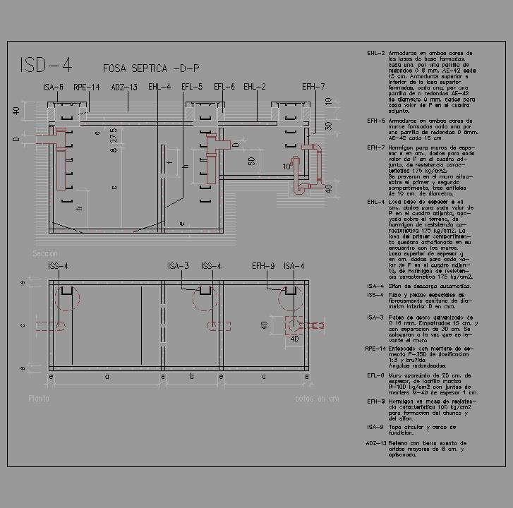 Cad projects biblioteca bloques autocad arquitectura y - Construir fosa septica ...