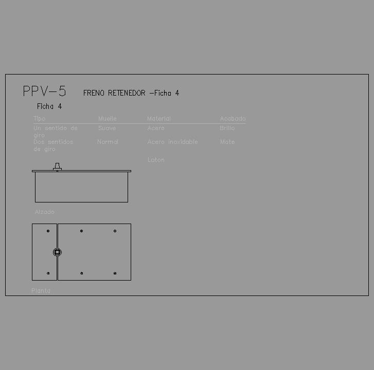 Cad projects biblioteca bloques autocad ppv 05 freno - Freno retenedor puerta ...