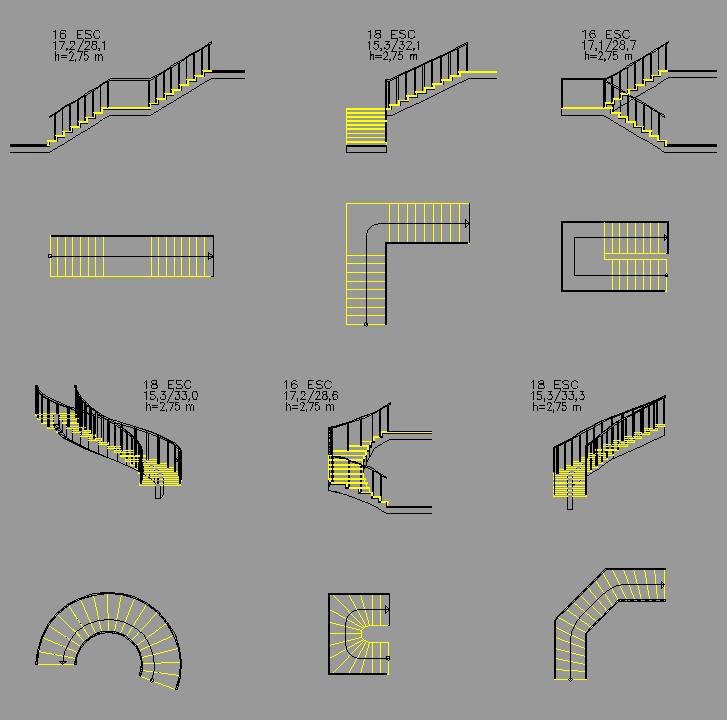 Cad projects biblioteca bloques autocad arquitectura y for Tipos de escaleras arquitectura