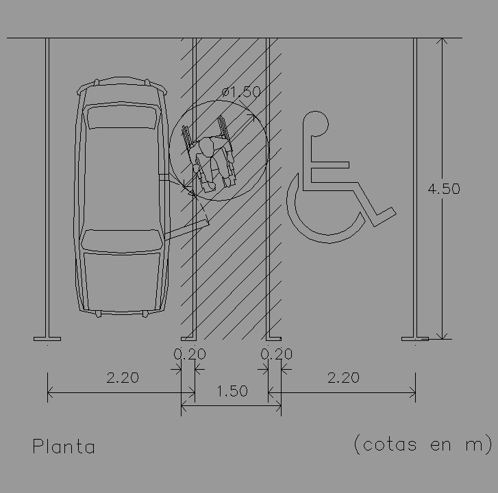 cad projects biblioteca bloques autocad parking minusv lidos vista de parking minusv lidos. Black Bedroom Furniture Sets. Home Design Ideas