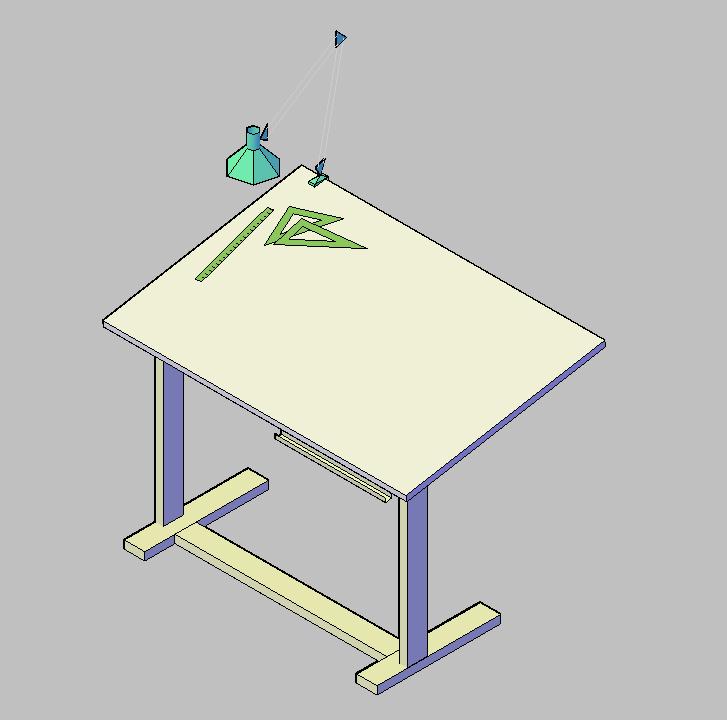 bloque autocad vista de mesa tablero de dibujo en d