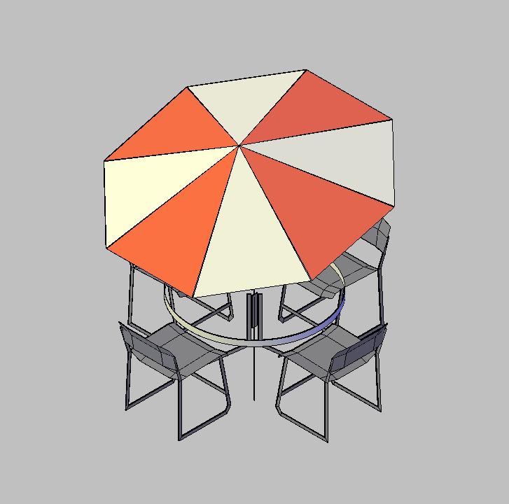 Bloque Autocad Vista de Mesa con sombrilla Bibliot. 2D-3D en 3D