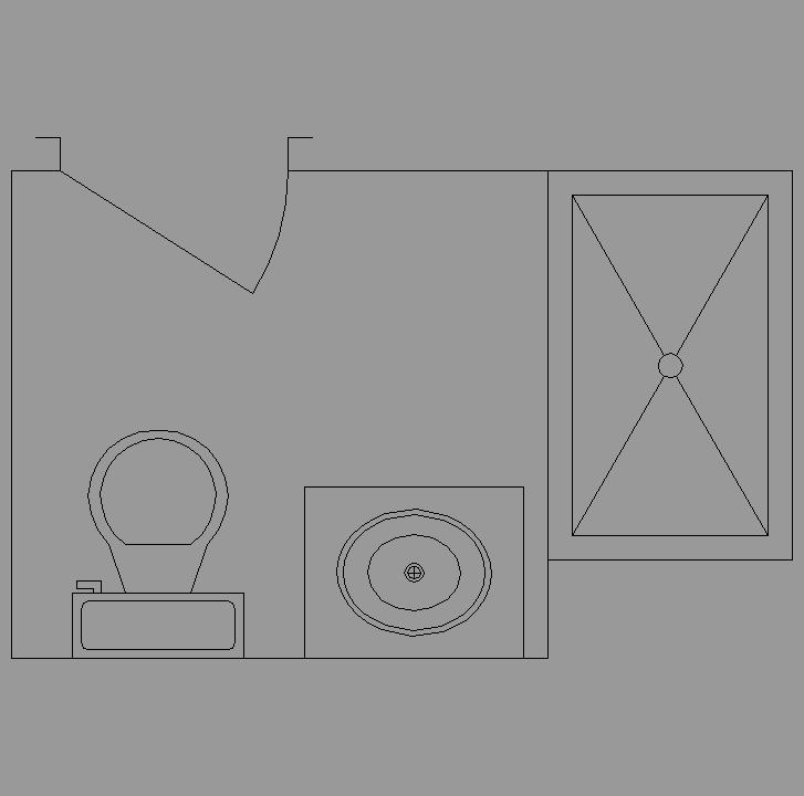 Baño Vista En Planta:Bloque Autocad Vista de Distribución baño 07 en Planta