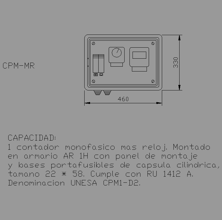 Bloque Autocad CPM-MR, contador + reloj + fusibles.